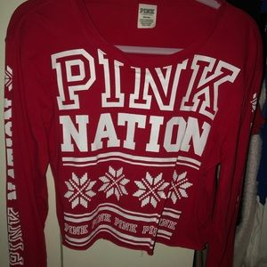 Limited edition PINK Christmas cropped top